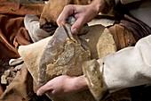 Flint carving,prehistoric reconstruction