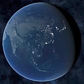 Asia at night