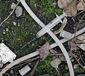 Discarded heroin users paraphernalia