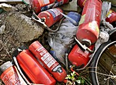 Dumped fire extinguishers