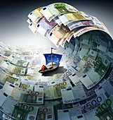 Europe sinking in debt,conceptual image