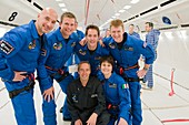 ESA astronauts aboard Zero-G Airbus plane