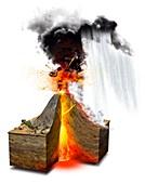 Erupting volcano,artwork