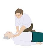CPR first aid technique,artwork