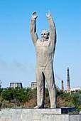 Yuri Gagarin statue in a park in Baikonur