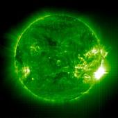 Giant solar flare,UV telescope image