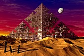 Desert pyramid fractal,artwork