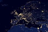 Europe at night,satellite image