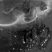 Auroras at night,satellite image
