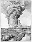 Oil well fires,Caucasus,artwork