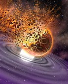 Planet destroyed by white dwarf,artwork