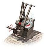 Wool scouring machine,artwork