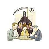 Alcohol and death,conceptual artwork
