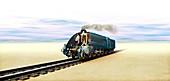 Mallard steam locomotive,artwork