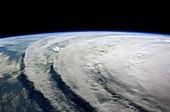 Hurricane Ike cloud bands,ISS image