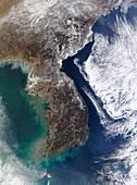 Korean Peninsula,satellite image