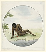 Wounded aboriginal man,18th century