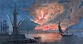 Vesuvius erupting,1767,artwork