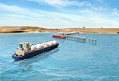Gas tanker approaching port,artwork