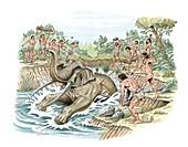 Palaeolithic elephant hunting,artwork