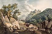 Slate quarries,Harlech Castle,1798