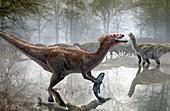 Baryonyx dinosaur fishing