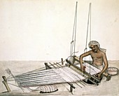 Weaver using a loom in India,1870s