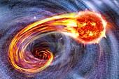 Black hole swallowing a star,artwork