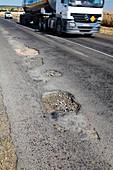 Potholes on rural road