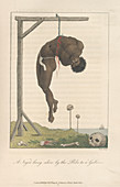 A slave hung from a gallows