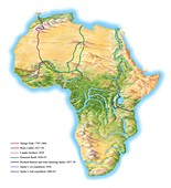 African exploration routes,19th century