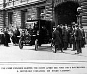 A prisoner leaving court