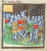 Medieval soldiers fighting