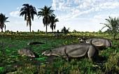 Moeritherium mammals,artwork