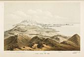 Illustration of a mountain range in Crete