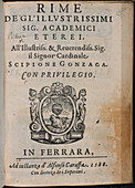 Title page of 'Rime degl'illustrissimi'