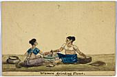 Women grinding flower