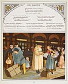 Passengers outside a railway station