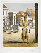 Le Kodja. A man selling cloth