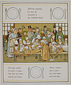 Children in the dining hall of a nursery