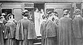 Nurses boarding a train,World War I