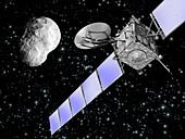 Rosetta spacecraft flyby,artwork