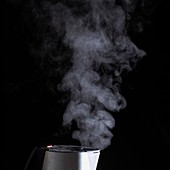 Steam coming out of a kettle,close-up