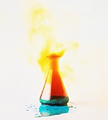 Chemical explosion in glass flask