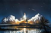 Space Shuttle launch,artwork