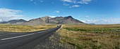 Dormant volcano and road,Iceland