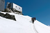 Climbers at Vallot hut,Mont Blanc