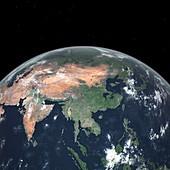 Asia with sea level rise,artwork