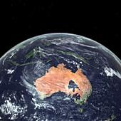 Australia with sea level rise,artwork