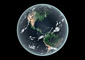 Americas with sea level rise,artwork